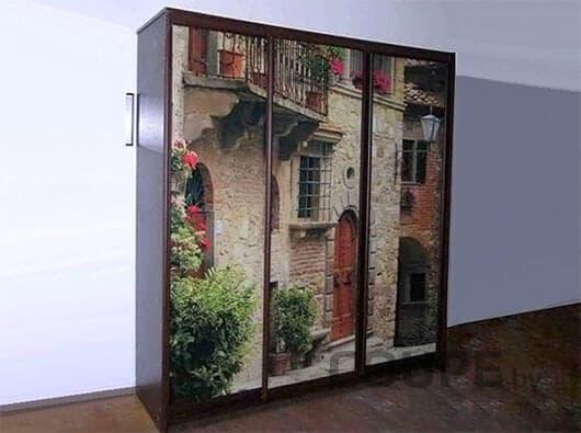 Шкаф-купе с фотопечатью в виде старого города